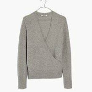 Madewell XS Gray Wrap Front Sweater Cozy Wool blnd
